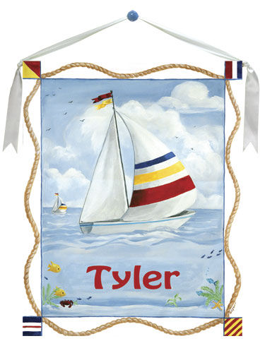 Sailboat Personalized Canvas Wall Hanging - Wall Sticker Outlet