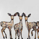 Five Dancing Fawns Canvas Wall Art