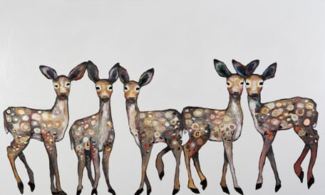 Five Dancing Fawns Canvas Wall Art - Wall Sticker Outlet