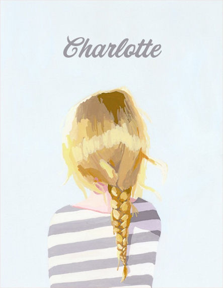 Blonde Braid Personalized Canvas Wall Art - Wall Sticker Outlet