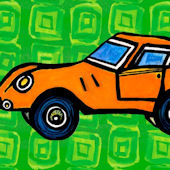 Orange Car Canvas Wall Art