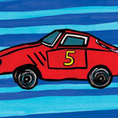 Red Car Number Five Canvas Wall Art
