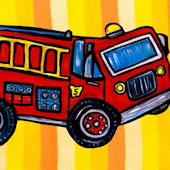 Red Fire Truck Canvas Wall Art