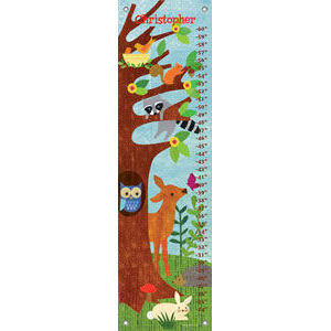 Friendly Forest Blue Canvas Growth Chart - Kids Wall Decor Store
