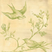Toile Birdies In Flight Green Canvas Wall Art
