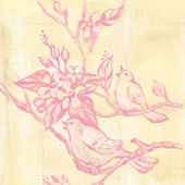 Toile Birdies In Trees Pink Canvas Wall Art