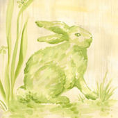 Toile Bunny Green Canvas Wall Art