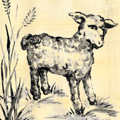 Toile Lamb Black And Cream Canvas Wall Art