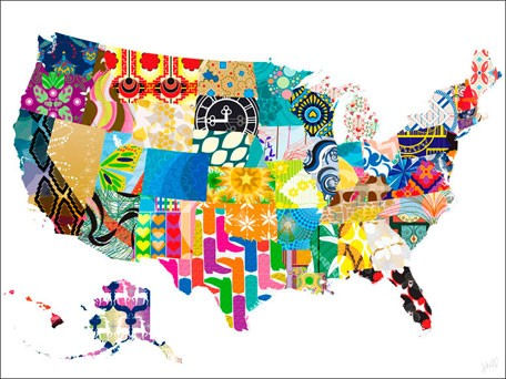 Patriotic Patterns Canvas Wall Art - Wall Sticker Outlet