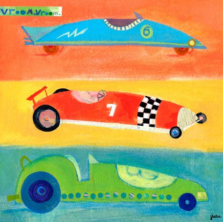Vroom Vroom Race Cars Canvas Wall Art - Wall Sticker Outlet