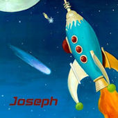 Retro Rocket Personalized Canvas Wall Art
