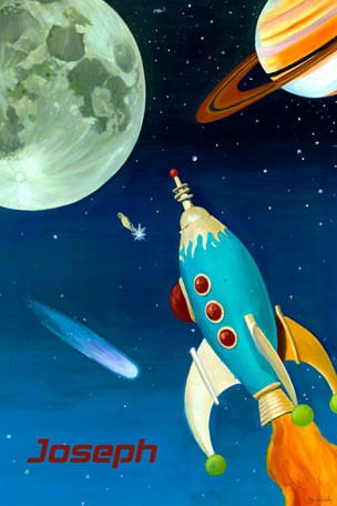 Retro Rocket Personalized Canvas Wall Art - Wall Sticker Outlet