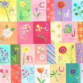 A to Z Flowers Canvas Wall Art