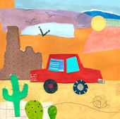 On The Road Desert Canvas Wall Art