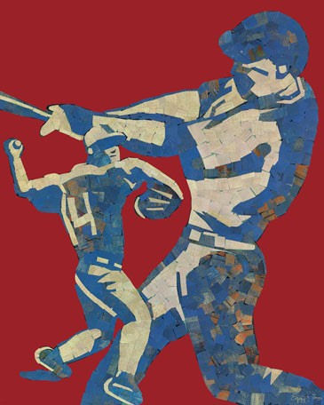 Mosaic Baseball Player Canvas Wall Art - Wall Sticker Outlet