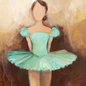 Belle Of The Ballet Green Canvas Wall Art