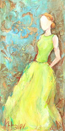 Green Satin Gown Canvas Wall Art - Wall Sticker Outlet