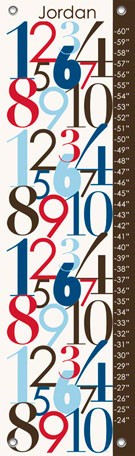 Modern Numbers Blue Canvas Growth Chart - Wall Sticker Outlet