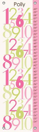 Modern Numbers Pink Canvas Growth Chart - Wall Sticker Outlet