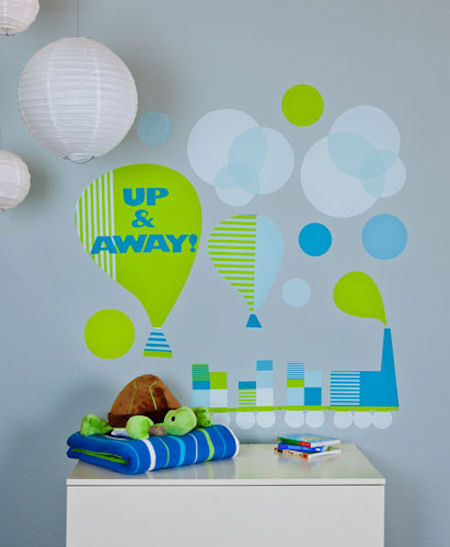 Modern Train and Balloons  Peel and Place Sticker - Wall Sticker Outlet