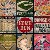 Americas Favorite Pastime Blue Wall Canvas Art