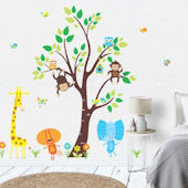 Orange Lion Dancing Jungle Animals Wall Decals
