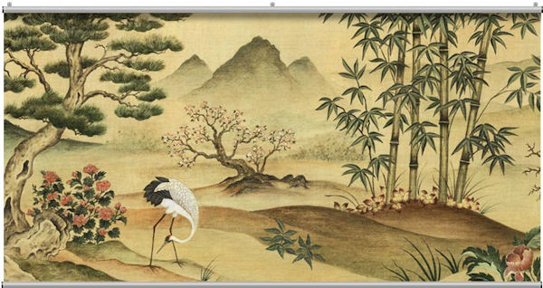 Oriental landscape minute mural for Chinese mural wallpaper