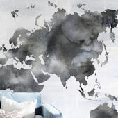 Urbanwalls Painted World Map Wall Mural