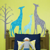Modern Giraffe Peel and Place Mural Blue Two Sizes