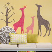 Modern Giraffe Peel and Place Mural Pink Two Sizes