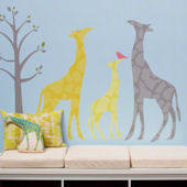 Modern Giraffe Peel and Place Mural Yellow 2 Sizes