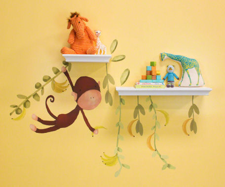 Jungle Monkeys Small Peel and Place Mural - Wall Sticker Outlet