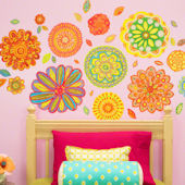 Radiant Flowers Peel and Place Mural Two Sizes