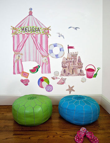 Seaside Cabana Small Peel and Place Mural - Wall Sticker Outlet