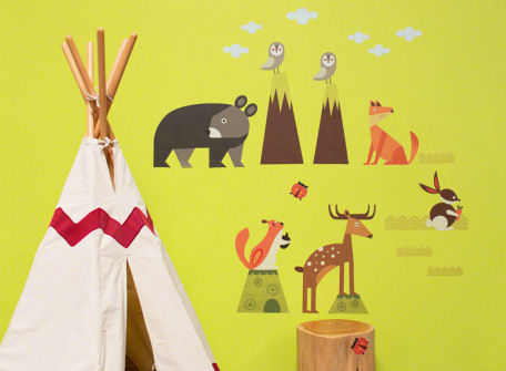 Woodsy Critters Medium Peel and Place Mural - Wall Sticker Outlet