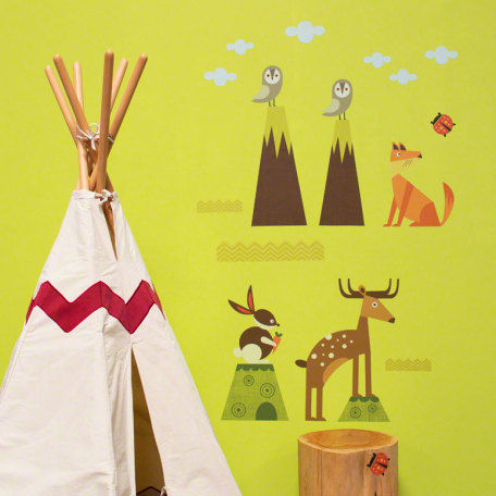 Woodsy Critters Small Peel and Place Mural - Wall Sticker Outlet