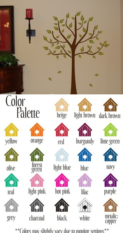 Tree with Leaves Vinyl Wall Sticker - Wall Sticker Outlet