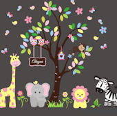 Personalized Happy Jungle Animals Wall Decals
