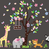 Personalized Pink Bow Jungle Animals Wall Decals