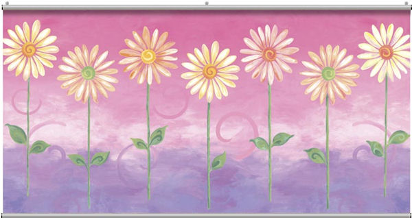 Pink Big Daisies Minute Mural - Wall Sticker Outlet