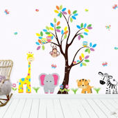 Pink Elephant Jungle Animals Wall Decals