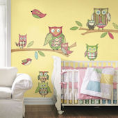 Pink Owl Prepasted Accent Wall Mural