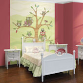 Pink Owl Pre Pasted Wall Mural