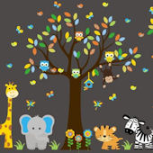 Polka Dot Giraffe Jungle Animal Wall Decals