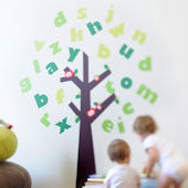 Tree of Knowledge and Letters Fabric Wall Decals