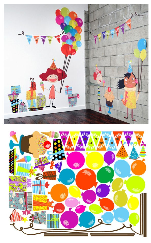 Birthday Celebrations Fabric Wall Decals - Wall Sticker Outlet
