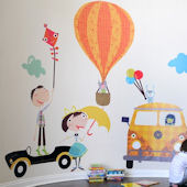 Fun Times and Cars Fabric Wall Decals