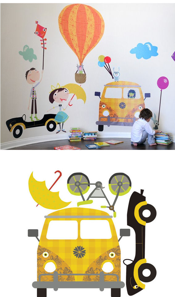 Fun Times and Cars Fabric Wall Decals - Wall Sticker Outlet