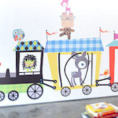 Circus Train Fabric Wall Decals