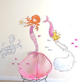 Pop and Lolli Mermaids Fabric Wall Decals